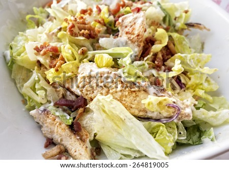 A lettuce salad with grilled chicken breast, bacon bit and vegetables in a creamy dressing.  - stock photo