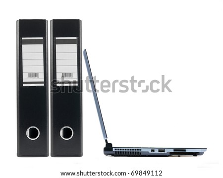 A4 lever arch folders and a laptop isolated against a white background - stock photo