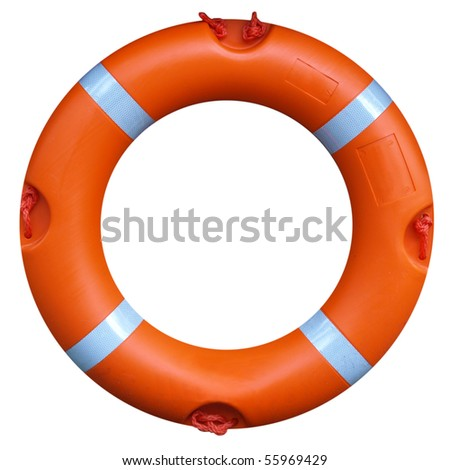 A life buoy for safety at sea - isolated over white background - stock photo