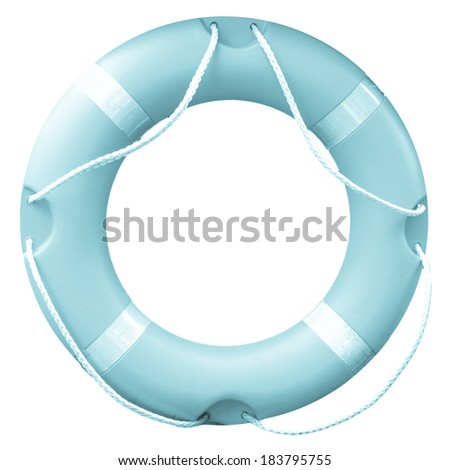 A life buoy for safety at sea isolated over white background - cool cyanotype - stock photo