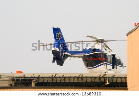 A life flight helicopter getting ready for takeoff. - stock photo