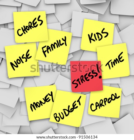 A life of stress illustrated by many sticky notes with reminders of stressful things such as Chores, Money, Budget, Kids, Family, Work, Time and Noise - stock photo