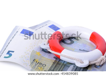 a life ring on euro notes, concept for saving the euro currency