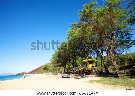 A lifeguard station at Big Beach in Maui - stock photo