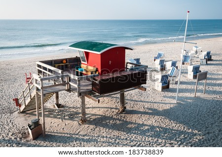 A lifeguard station at Kampen on the island of Sylt. - stock photo