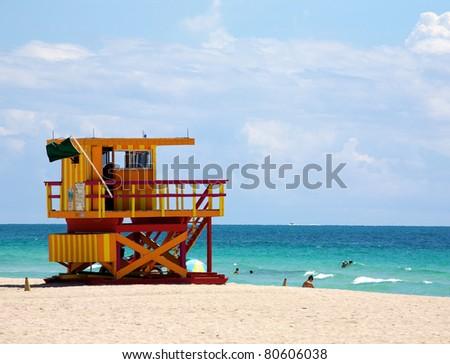 A lifeguard tower on South Beach in Miami Florida - stock photo