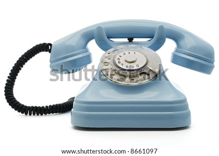 a light blue telephone on white - with clipping path both for telephone and the dial - stock photo