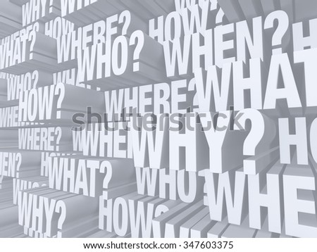 "A light gray wall of the words ""WHO?"", ""WHAT?"", ""WHERE?"", ""WHEN?"", ""HOW?"", and ""WHY?"" repeated at various depths, reaching out to the viewer."
