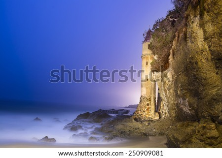 A light painted image of La Tour (the Tower) in Laguna Beach, California, shot at 4:00 a.m.  - stock photo