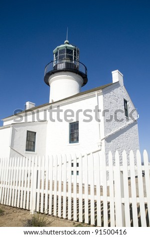 A lighthouse at Cabrillo National Monument in San Diego. - stock photo