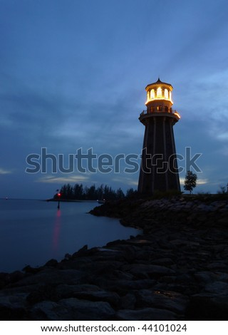 A lighthouse at dusk. Picture taken in Langkawi island, Malaysia - stock photo