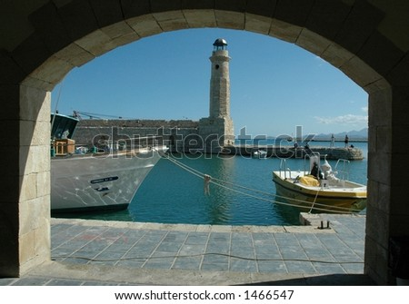 A lighthouse in Rethymno, Crete - stock photo