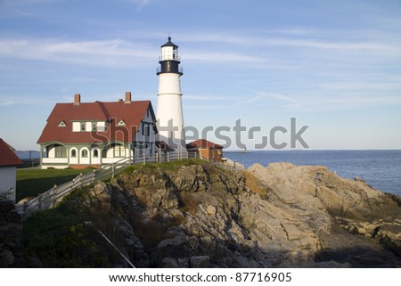 A lighthouse on a cliff