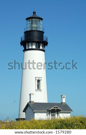 A lighthouse on the Pacific Ocean