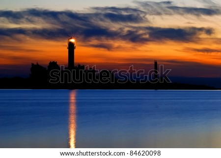 a lighthouse shining at late evening. Riga, Latvia