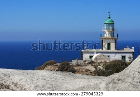 A lighthouse with a sea view - stock photo