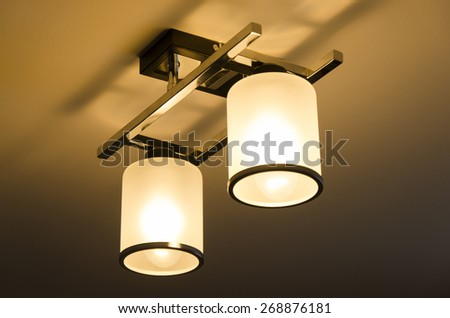 A Lighting lamp with bulbs in home - stock photo