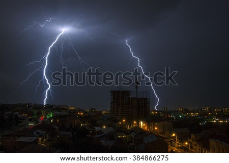 a lightning in the night city - stock photo
