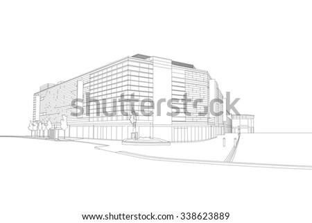 A line drawing of a department store, Bradford, West Yorkshire, UK - stock photo