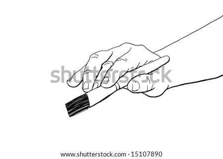 A line drawing of an artists hand holding a brush