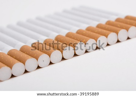 A line of cigarettes on the white background