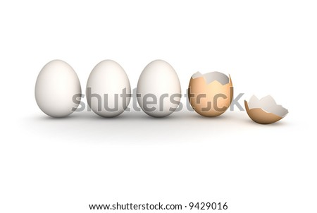 a line of 4 eggs. 3 perfect white hen's eggs and a brown broken egg - stock photo