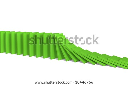 A line of green 3d falling figures of a dominoes. Objects over white - stock photo