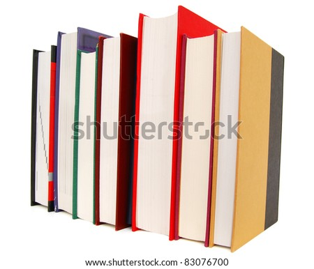 A line of multiple textbooks