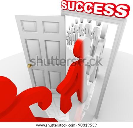 A line of people step through a doorway marked Success and are changed to a new color symbolizing that they have been transformed to achieve and accomplish their goals in life - stock photo