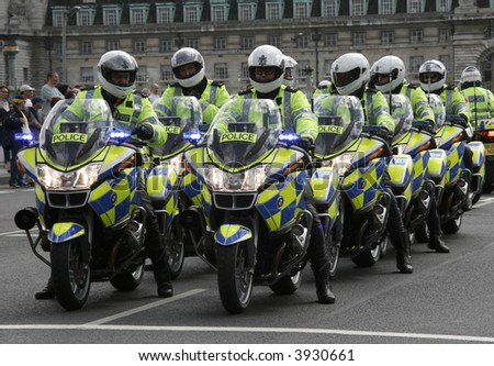 A line of police motorcyclists. - stock photo