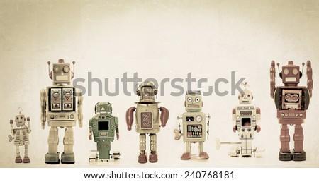 a line of retro robots - stock photo