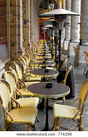 A line of table and chairs in Paris France