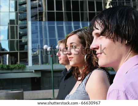 A Line-Up Of Business People All Facing Forward With Their Sights Set On A Forward Direction - stock photo