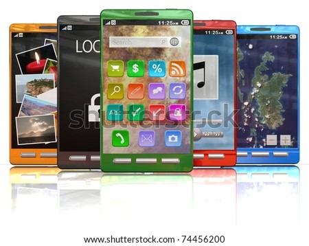 A lineup of 3D colorful smartphones
