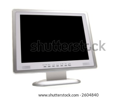 A Liquid Crystal Display (LCD) computer monitor against white background.