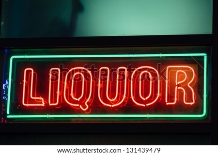 A liquor neon sign on a bar in Atlanta, Georgia - stock photo