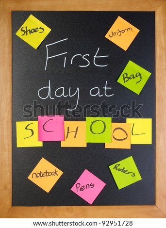 A list of all the things a student might need for their first day of school - stock photo
