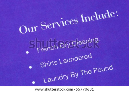 A list of services provided by the laundromat - stock photo
