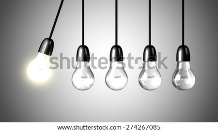 A lit light bulb will boost other extinguished bulbs. Newton's cradle concept. Realistic 3d render - stock photo