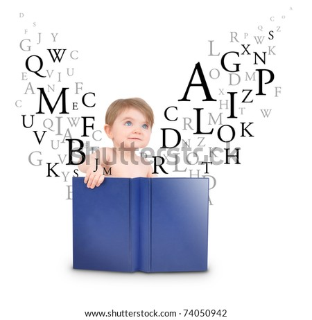 A little baby is reading a book with letters coming out on a white, isolated background.