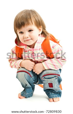 A little baby sitting squatted over a white background - stock photo