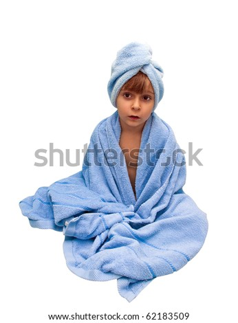 A little boy in the towel, isolated on a white background - stock photo