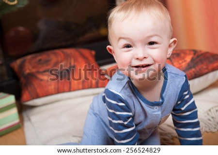 A little boy smiling - stock photo