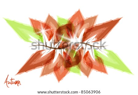 A little branch with leafs. Autumn painting | background. Vector version available in my gallery. - stock photo