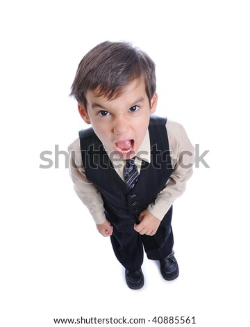 A little cute kid in business suit isolated - stock photo