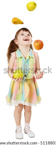 A little funny girl juggles fruit on white background - stock photo
