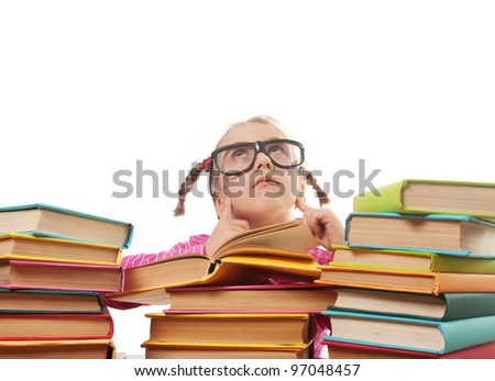 a little girl in glasses thought. back to school concept, isolated over white - stock photo
