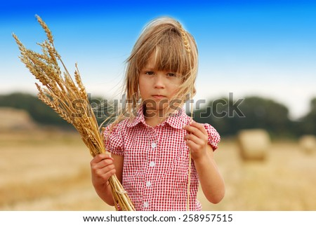 a little girl on the field with wheat - stock photo