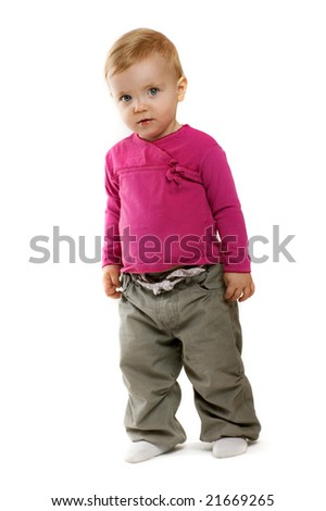 a little girl on white background - stock photo