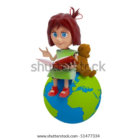 a little girl reads a book - stock photo